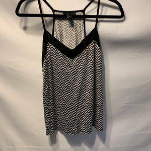 H&M Black White Zigzag Top Size Small
